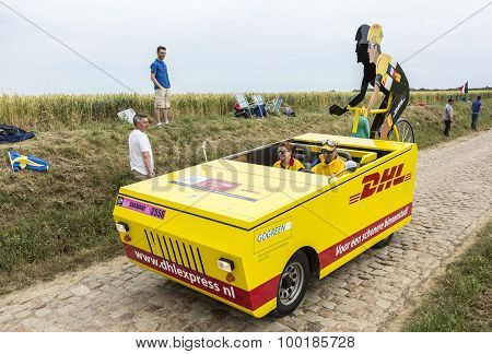 DHL Vehicle On A Cobblestone Road - Tour De France 2015