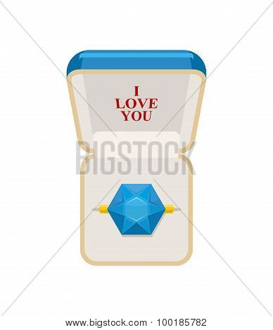 Ring In  Box. Jewelry For Weddings And Engagements. I Love You. Sapphire Ring. Vector Illustration F