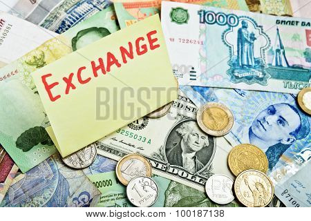 Collection of various money, currency exchange