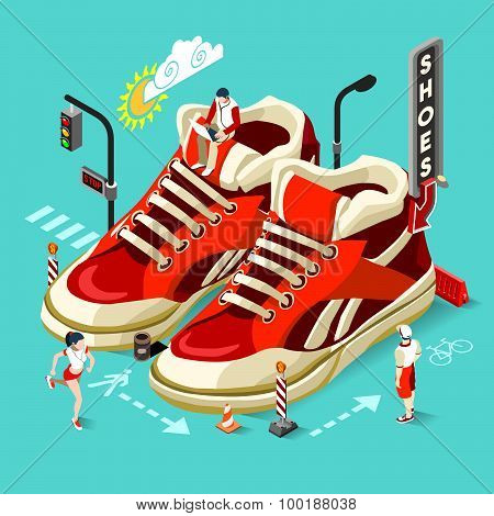 Sneakers Shop People Isometric