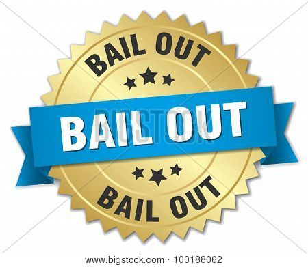 Bail Out 3D Gold Badge With Blue Ribbon