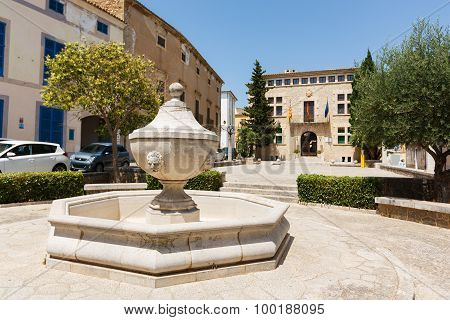 Fountain In The Background City Hall Of Arta, Mallorca