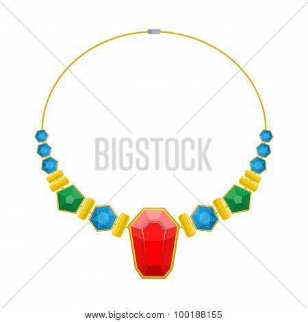 Necklace Of Precious Stones. Beautiful Rich Jewelry. Luxurious Beads Vector Illustration. Colored Ge