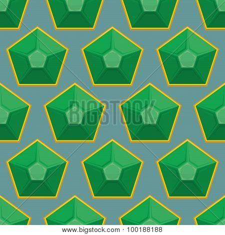 Emerald Seamless Pattern. Vector Background Of Green Gems.