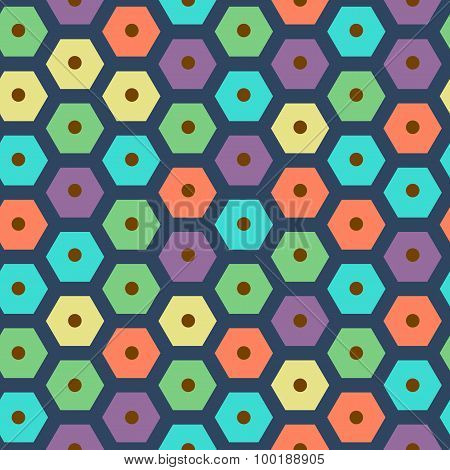vector color seamless hexagonal pattern violet, green, yellow, dark blue, red and cyan colors