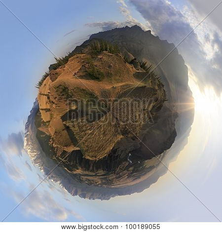 Cyclorama of Kuray mountain range and North Chuya ridge at dawn.