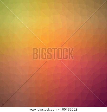 Low poly polygonal triangle abstract background template with warm summer autumn color yellow, red,