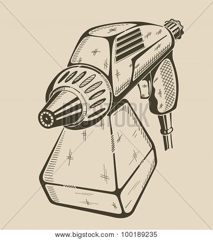 Illustration of building electric paint sprayer.