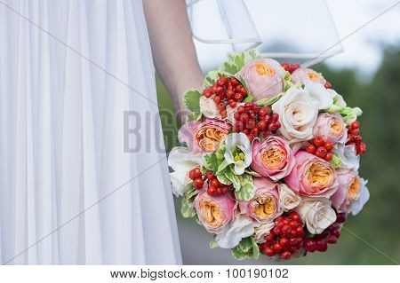 Beautiful Colorful Wedding Bouquet In A Hand Of A Bride