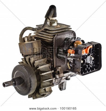 Old Internal Combustion Engine, Isolated On White Background
