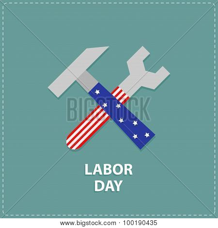 Labor Day Wrench Key And Hammer Icon With Star Stip Flat Design