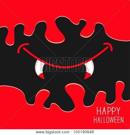 Vampire Mouth With Fangs. Flowing Down Blood. Halloween Card. Spooky Background Flat Design.
