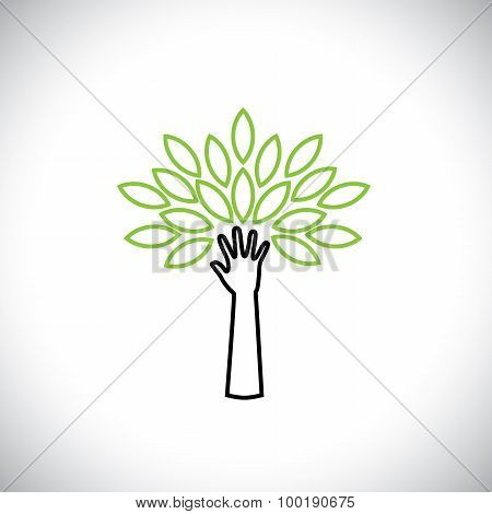 Hand & Tree Line Icon With Green Leaves - Eco Concept Vector