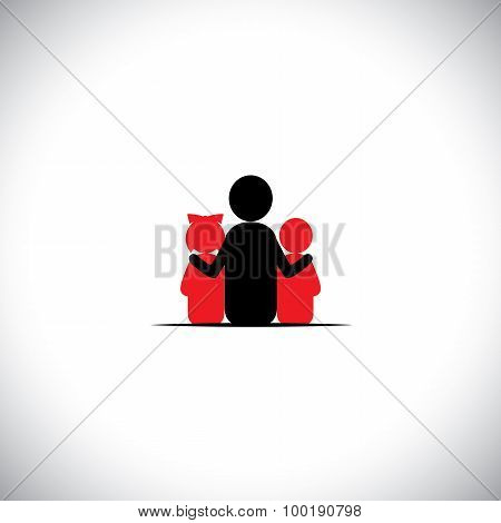 Father Son & Daughter Together Relationship Bonding - Vector Icon