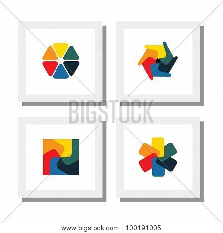 Set Of Colorful Flowers, Floral Designs - Vector Icons.