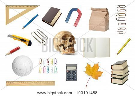 Set Of The School Objects.