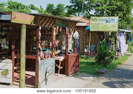 Exterior of a souvenir shops in the town of Tortuguero, Costa Rica.