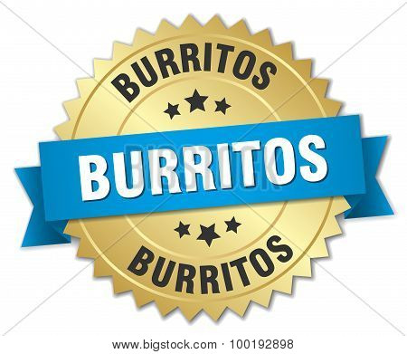 Burritos 3D Gold Badge With Blue Ribbon