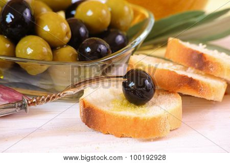 Olives And Wheat Bread