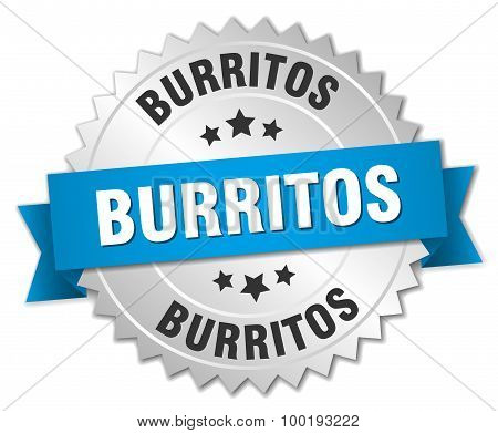 Burritos 3D Silver Badge With Blue Ribbon
