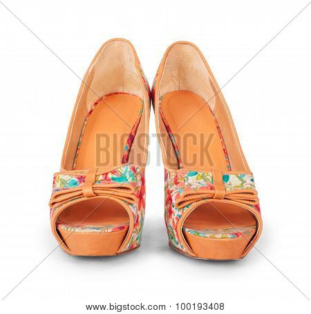 Bright Shoes With High Heels Isolated On White Background