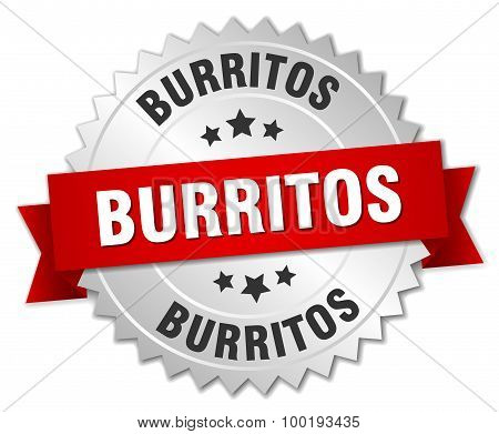Burritos 3D Silver Badge With Red Ribbon