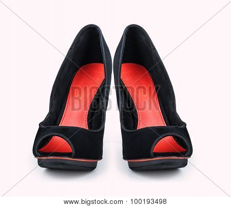 Womens Black Shoes With High Heels Isolated On White Background