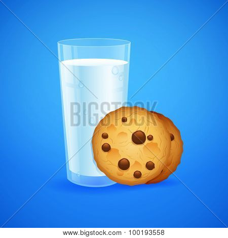 Realistic Set Of Glass Of Milk And Baked Oatmeal Cookies