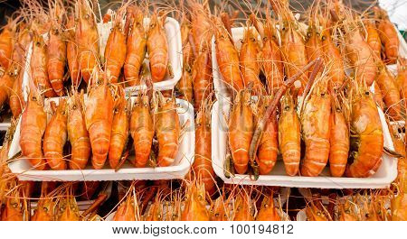 Grilled shrimp sale on street market