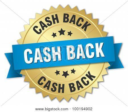 Cash Back 3D Gold Badge With Blue Ribbon