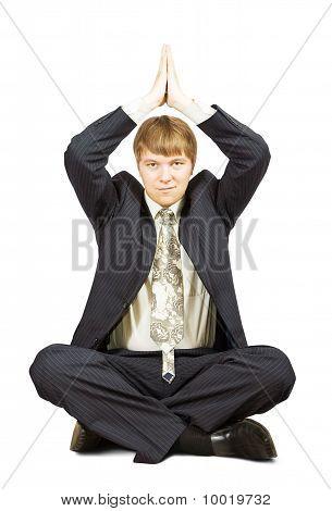 Businessman In Yoga Position
