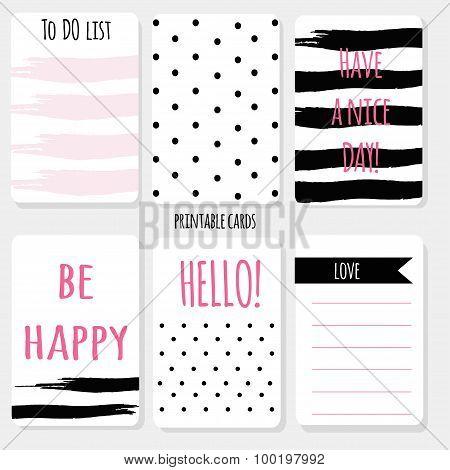 Printable cartoon set  design card, polka dot, brush stroke with sign