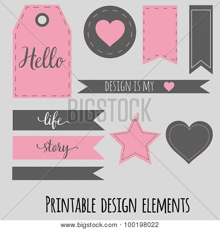 Printable design elements for scrabookng, blog and site