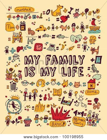 My family my life icons and objects color