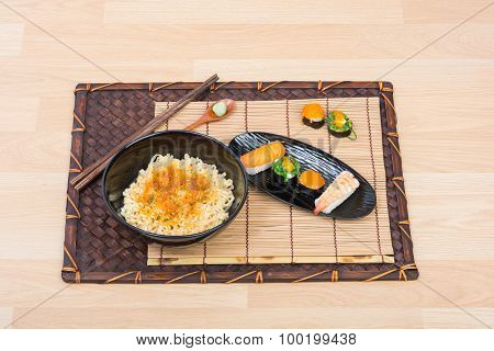Sushi And Noodle In Black Dish