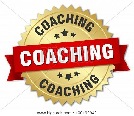 Coaching 3D Gold Badge With Red Ribbon