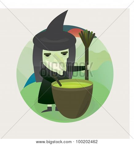 Halloween illustration of a wicked witch