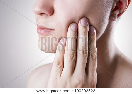 Man With A Toothache. Pain In The Human Body
