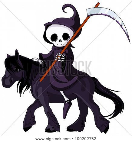 Cute cartoon grim reaper with scythe riding black horse
