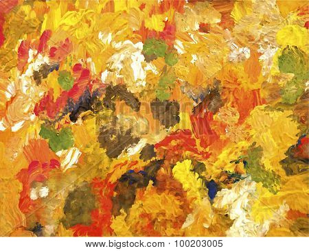 Autumn Abstract Background, Hand-drawn Paint