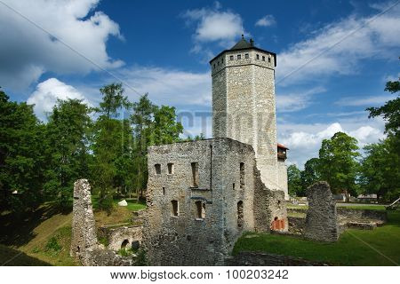 Castle ruins and tower at Paide