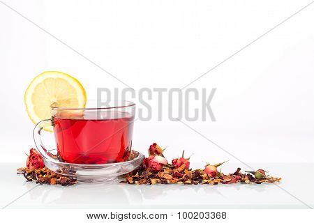 isolated transparent mug of flower tea with lemon and rose
