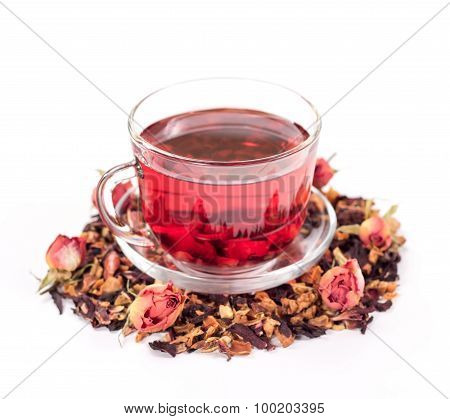 isolated transparent mug of flower tea