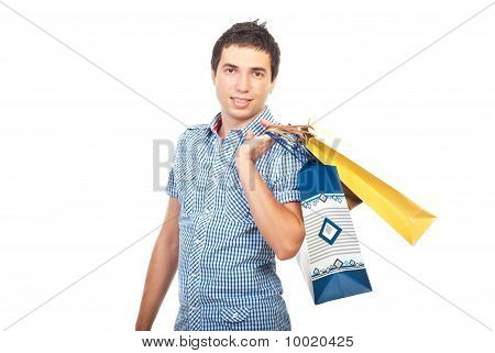 Buyer Man With Shopping Bags