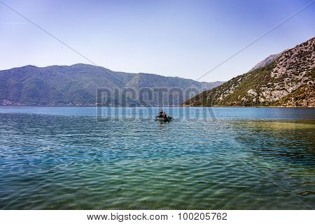 Mountain Lakes And Boat, Montenegro, Kotor