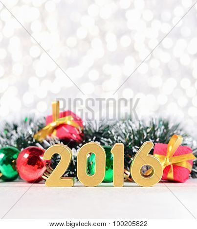 2016 Year Golden Figures And Christmas Decorations