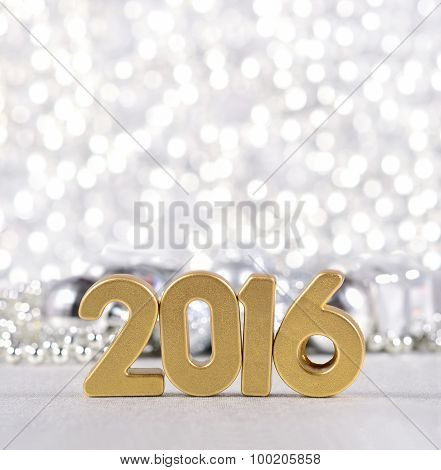 2016 Year Golden Figures And Silvery Christmas Decorations