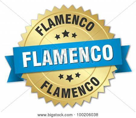 Flamenco 3D Gold Badge With Blue Ribbon