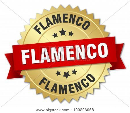Flamenco 3D Gold Badge With Red Ribbon