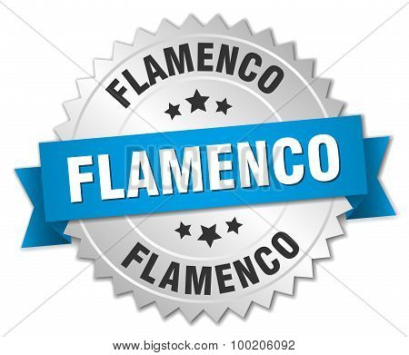 Flamenco 3D Silver Badge With Blue Ribbon